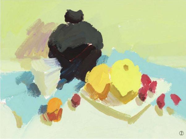 色彩酒坛与水果组合的画法(3)