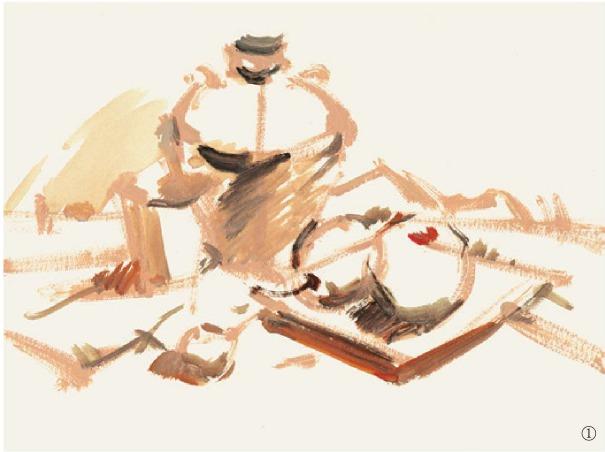 色彩酒坛与水果组合的画法(1)