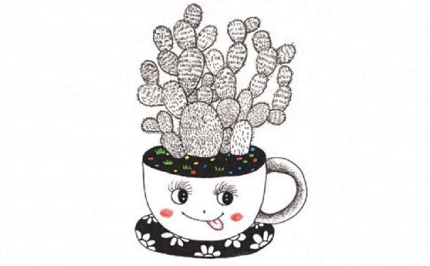 儿童装饰画:书桌上的小盆栽的画法(4)