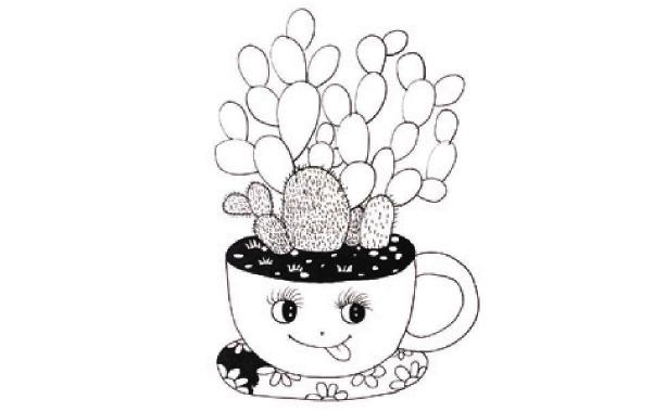 儿童装饰画:书桌上的小盆栽的画法(3)