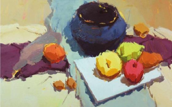 水果类色彩静物组合的画法(4)