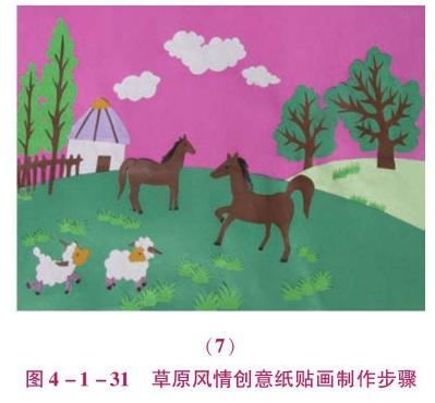 草原风情创意纸贴画制作步骤(2)