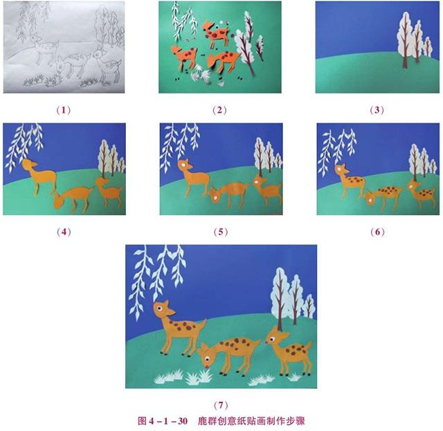 鹿群创意纸贴画制作步骤