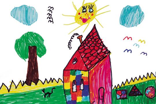 少儿美术绘画班-美丽的家(命题画)