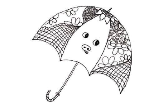 儿童装饰画:我设计的小花伞的画法(3)