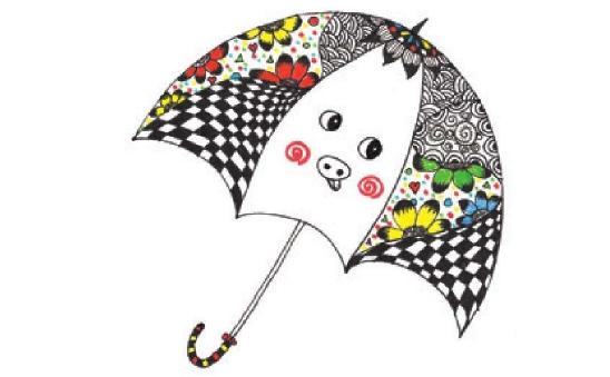 儿童装饰画:我设计的小花伞的画法(4)