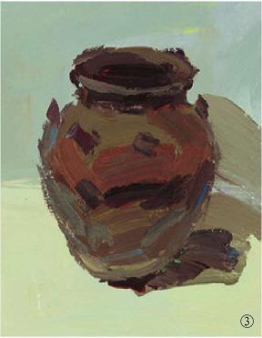 色彩宽口陶罐的画法(3)