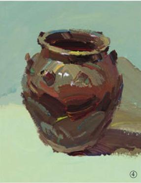 色彩宽口陶罐的画法(4)