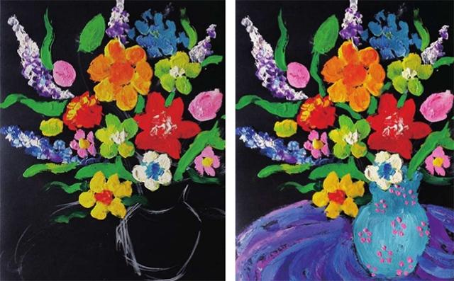 少儿美术教程花瓶里的花步骤(2)