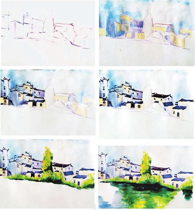 少儿美术教程-徽派建筑写生绘画步骤(1)