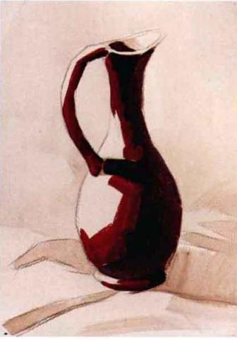 陶瓷类单体水粉静物作画步骤(2)