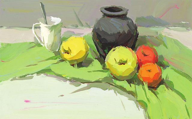 陶罐与水果色彩组合的画法(2)