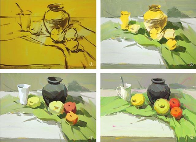 陶罐与水果色彩组合的画法(1)