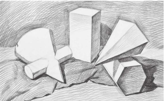 四个石膏形体组合画法步骤图(3)