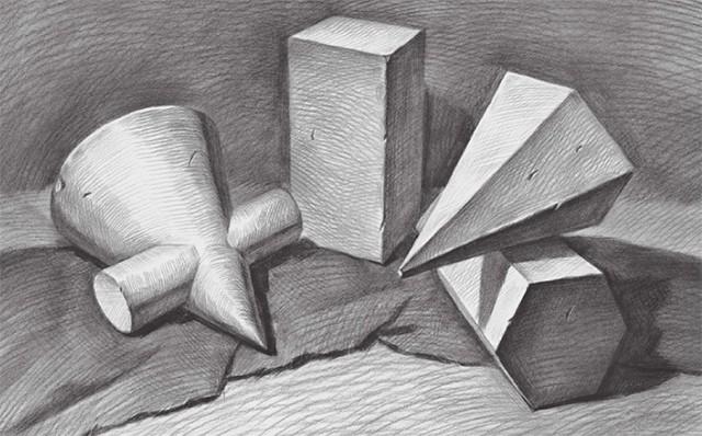 四个石膏形体组合画法步骤图(5)
