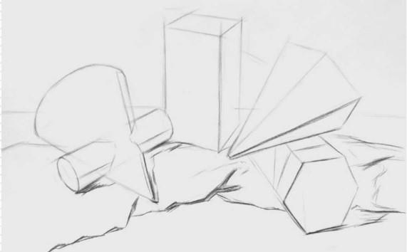 四个石膏形体组合画法步骤图(1)