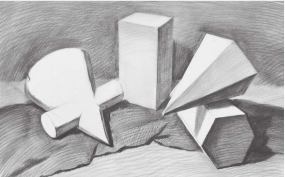 四个石膏形体组合画法步骤图(4)
