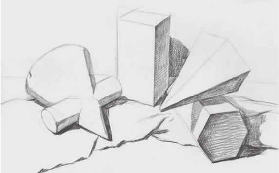 四个石膏形体组合画法步骤图(2)