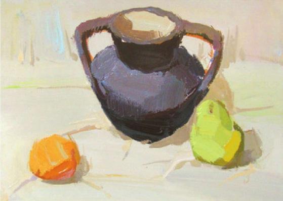 陶罐水果色彩组合的画法(5)
