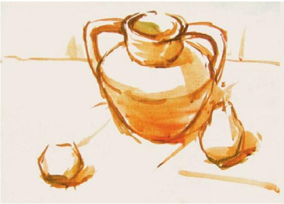 陶罐水果色彩组合的画法(2)