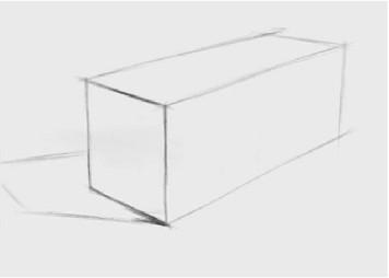石膏四棱柱穿插体的画法(1)