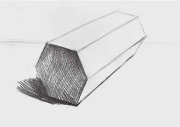 石膏六棱柱体怎么画(2)