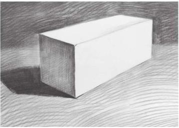 石膏四棱柱穿插体的画法(4)