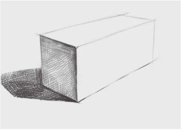 石膏四棱柱穿插体的画法(2)