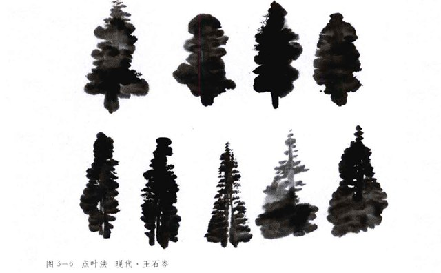 山水画树叶的画法