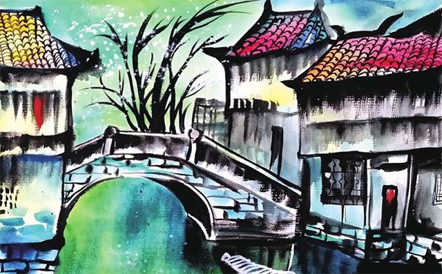 水乡建筑写生步骤(2)