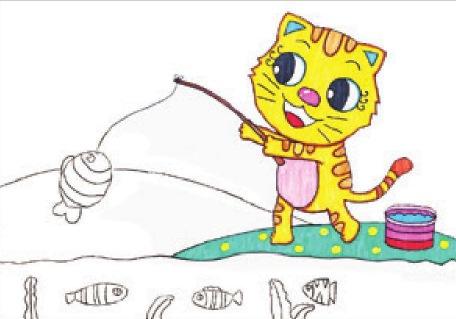 小猫钓鱼绘画步骤(3)