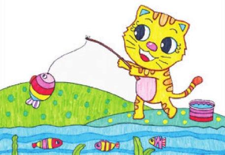 小猫钓鱼绘画步骤(5)