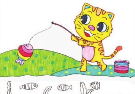 小猫钓鱼绘画步骤(4)