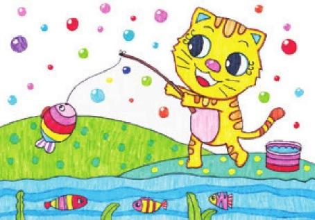小猫钓鱼绘画步骤(6)