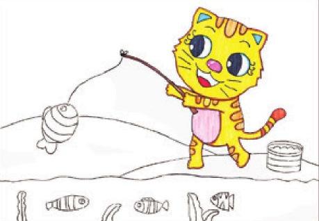小猫钓鱼绘画步骤(2)