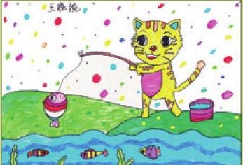 小猫钓鱼绘画步骤