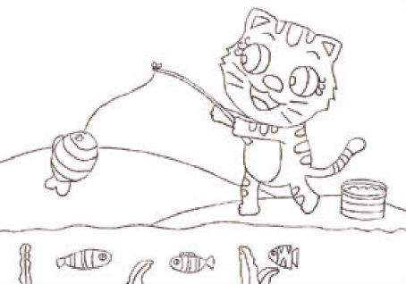 小猫钓鱼绘画步骤(1)