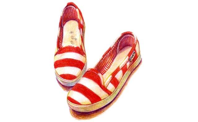 儿童红色条纹帆布鞋怎么画(2)