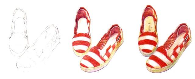 儿童红色条纹帆布鞋怎么画(1)
