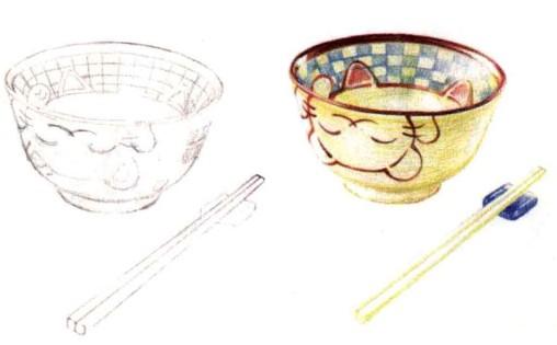 儿童小猫瓷碗怎么画(1)
